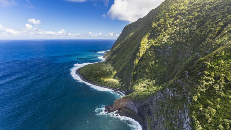Molokai coastline and surf
